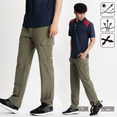 【遊遍天下】男款涼爽超顯瘦彈性多口袋吸濕排汗抗UV長褲P133卡其