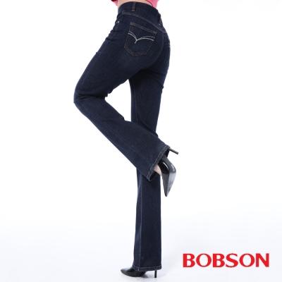BOBSON   女款保暖高腰膠原蛋白小喇叭褲-藍色