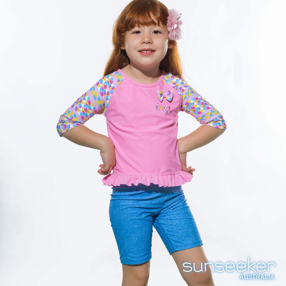 澳洲Sunseeker泳裝小女童抗UV防曬五分袖上衣+褲子組