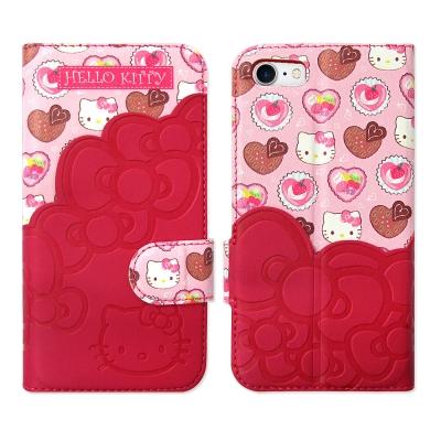 Hello Kitty凱蒂貓 iPhone 8/iPhone 7 立體拼接磁扣皮...