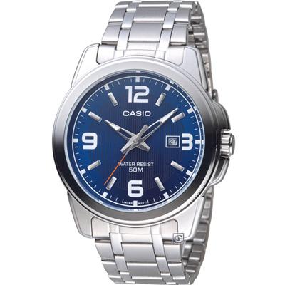 CASIO 簡約大三針日曆休閒腕錶(MTP-1314D-2A)46mm