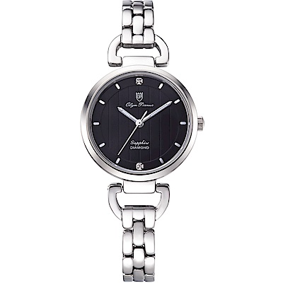 Olym Pianus 奧柏表 典雅直線壓紋時尚腕錶-黑 2483LS
