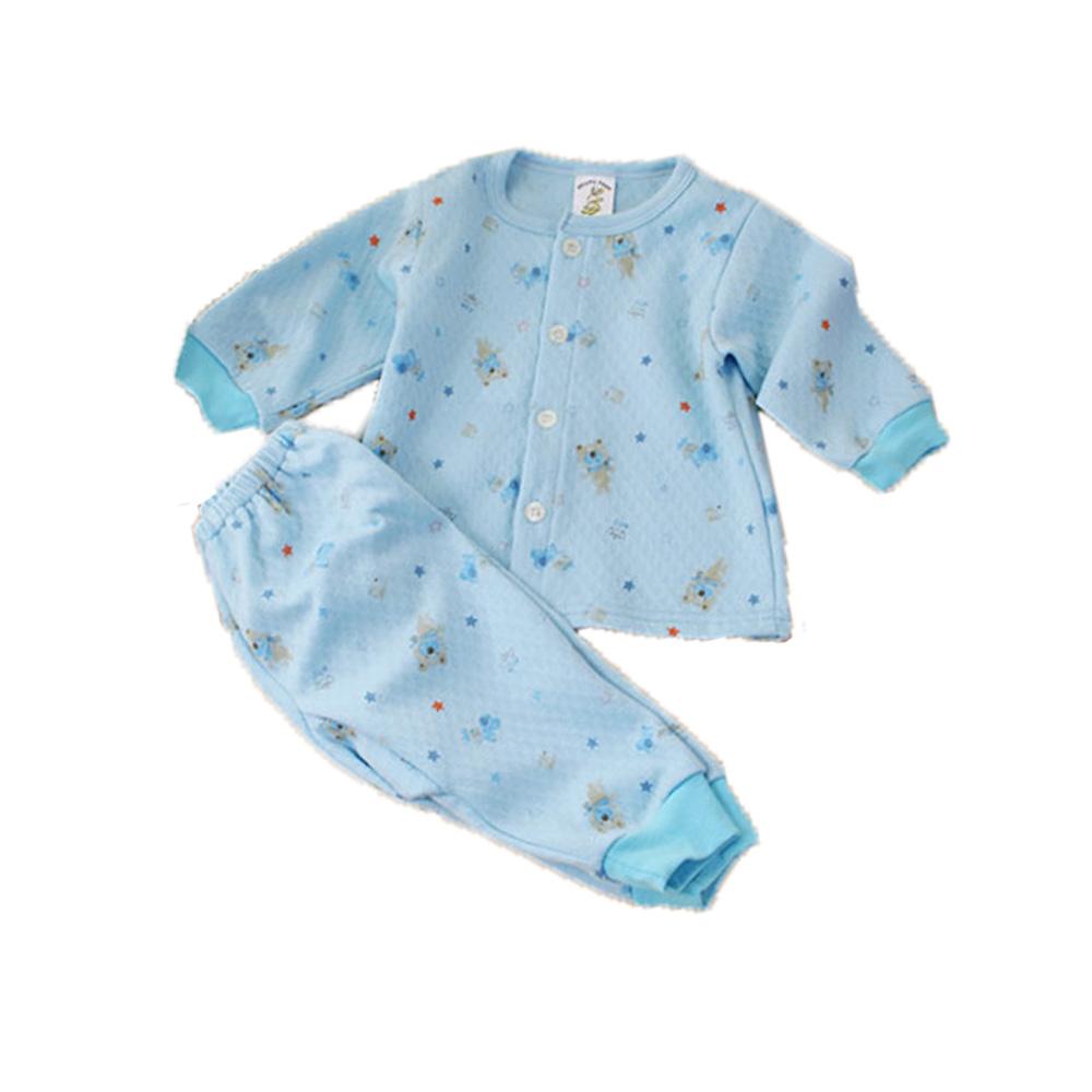 三層棉 厚款 小熊居家套裝 藍 k60113