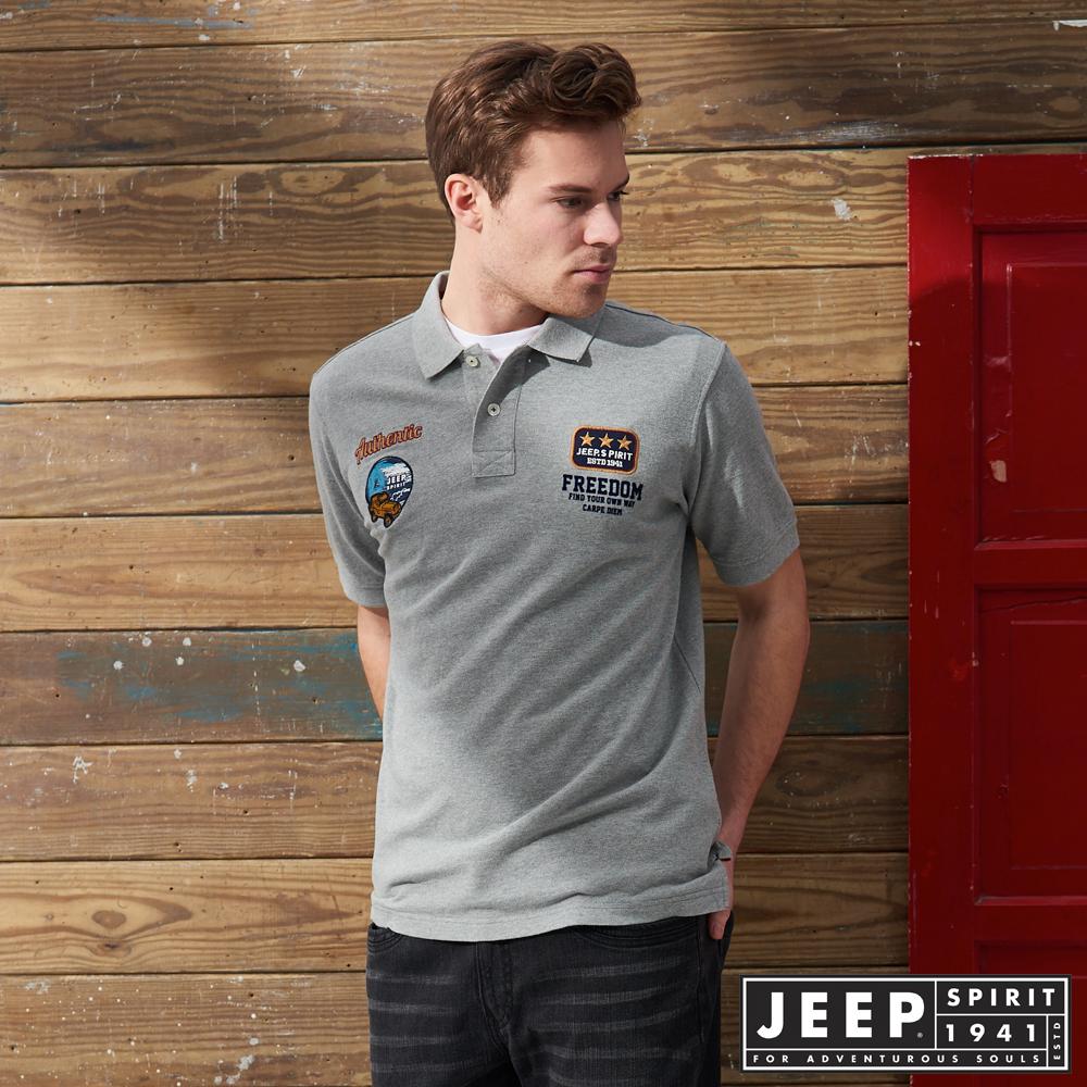 JEEP 百搭素面貼布短袖POLO衫 -灰色