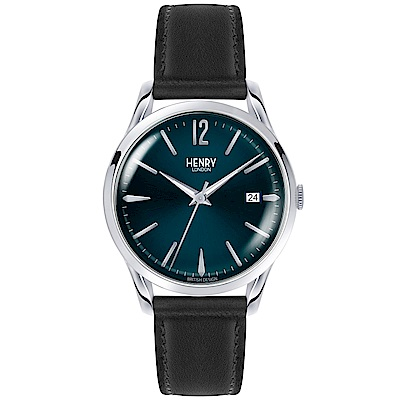 Henry London 英倫時尚真皮手錶-藍X黑/39mm