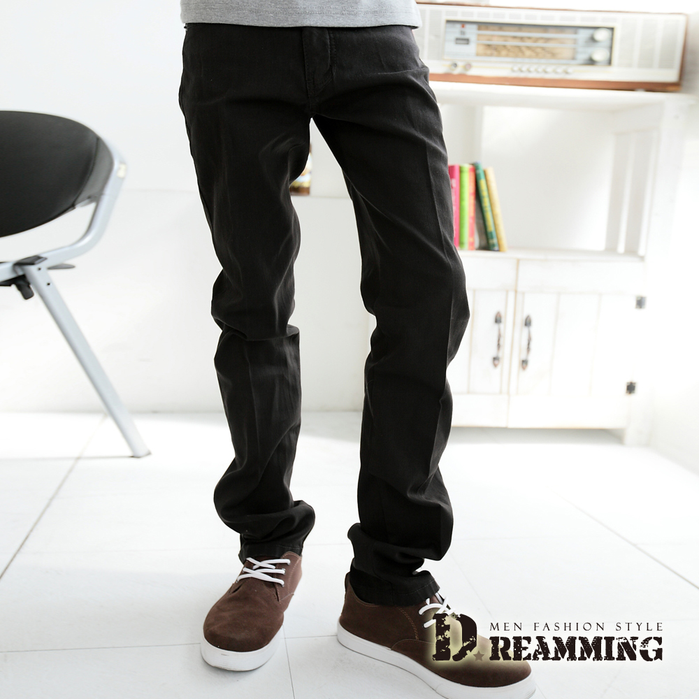 Dreamming 韓版斜紋布伸縮小直筒褲-深咖啡