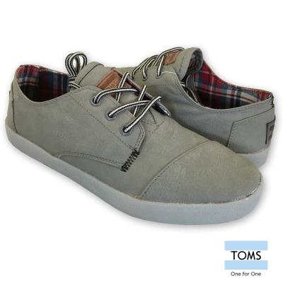 TOMS 率性皮革休閒鞋-男款(灰)