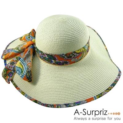 A-Surpriz 浪漫風情雪紡花紋蝴蝶結遮陽帽(米白)