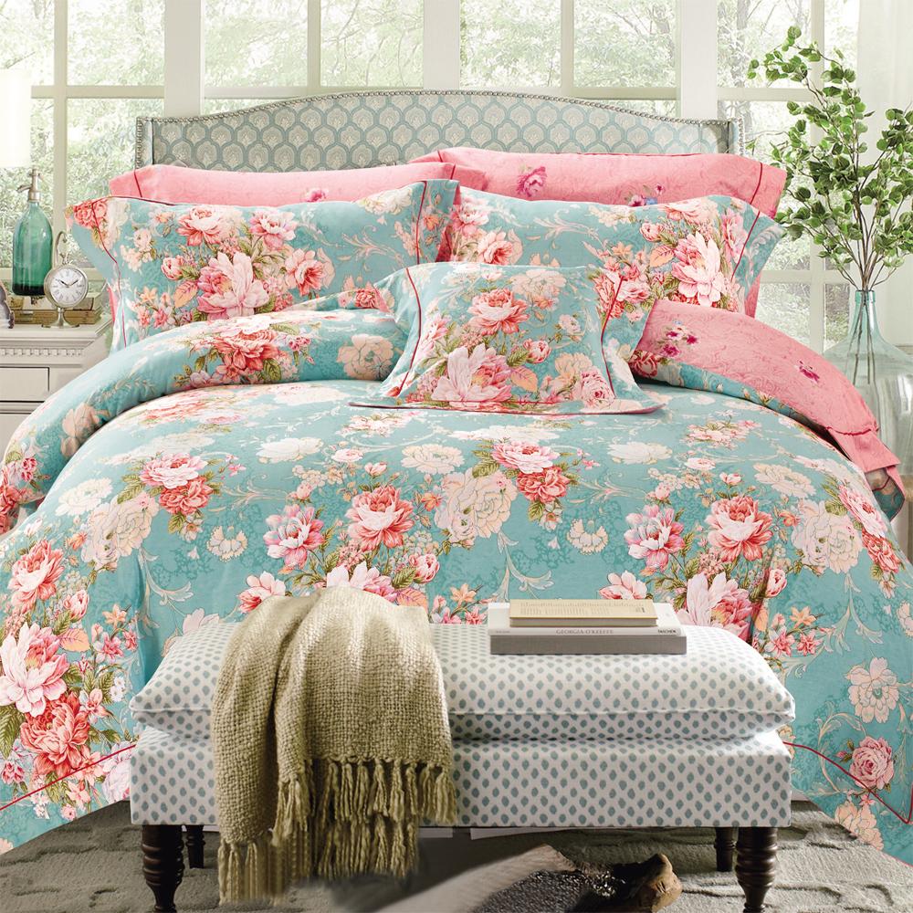 AmoreCasa 花卉綠映 100%棉緞雙人被套床包組