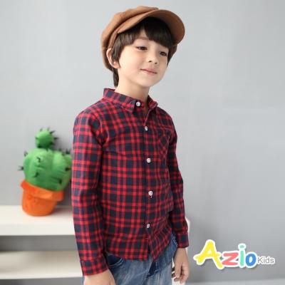 Azio Kids 童裝-襯衫 小格紋單口袋長袖襯衫(紅)