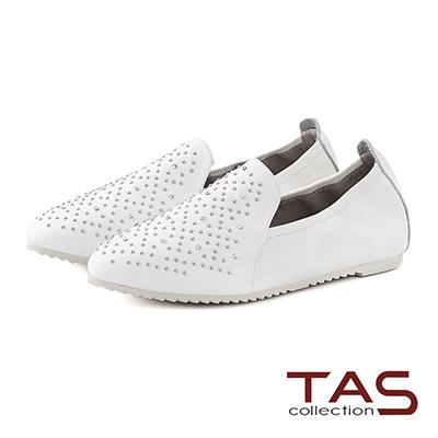 TAS 水鑽混搭鉚釘全真皮休閒鞋-經典白