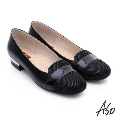 A.S.O 3E舒活寬楦 真皮絨面圓楦粗跟鞋 黑