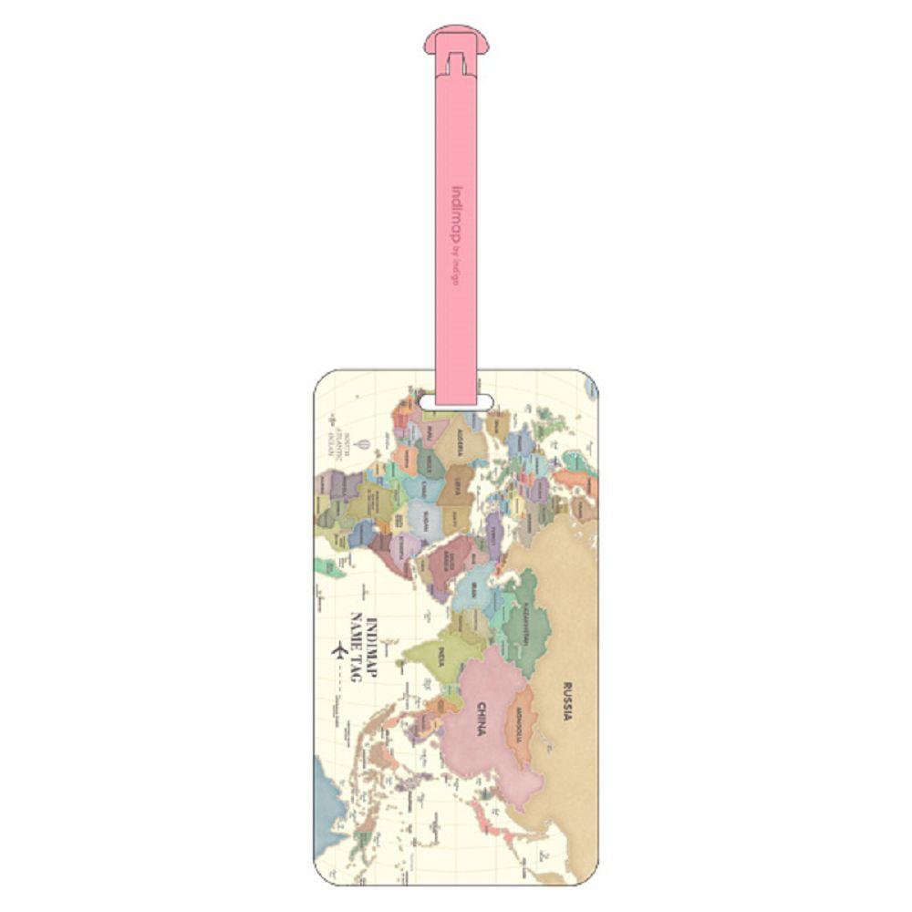 indimap 世界地圖長型行李吊牌-夢想粉