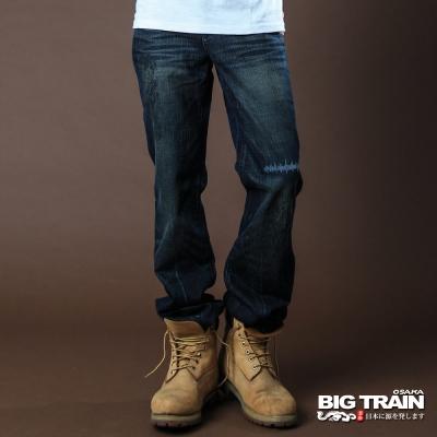 BIG TRAIN-湛藍街頭小直筒褲-中藍