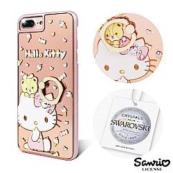 三麗鷗 Kitty iPhone8/7/6s Plus 施華彩鑽鏡面指環扣手機殼-童趣凱蒂