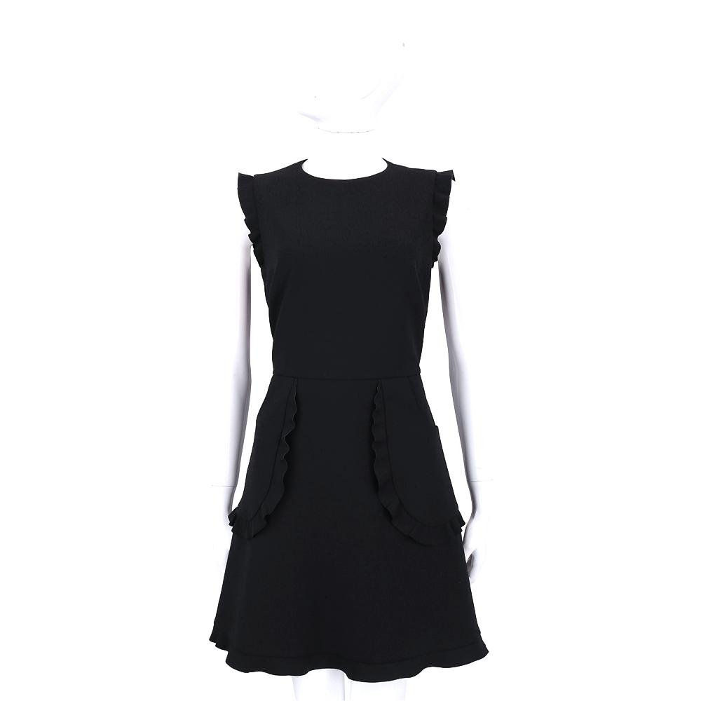 RED VALENTINO 黑色荷葉滾邊短袖洋裝