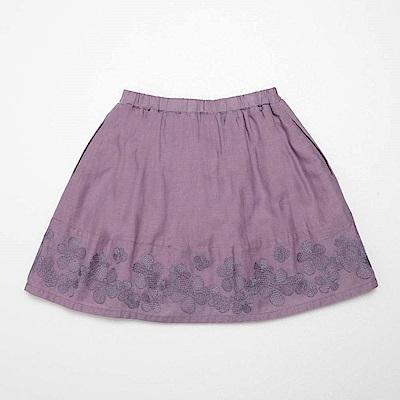 PIPPY 下擺刺繡及膝裙 灰紫