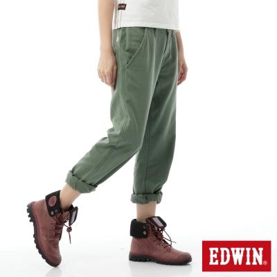 EDWIN-BOYFRIEND休閒褲-女-橄欖綠