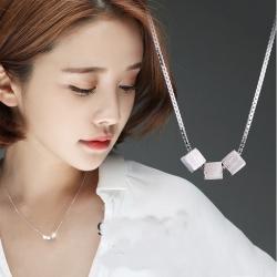 梨花HaNA 韓國925純銀拉絲立體極簡小方塊鎖骨鍊