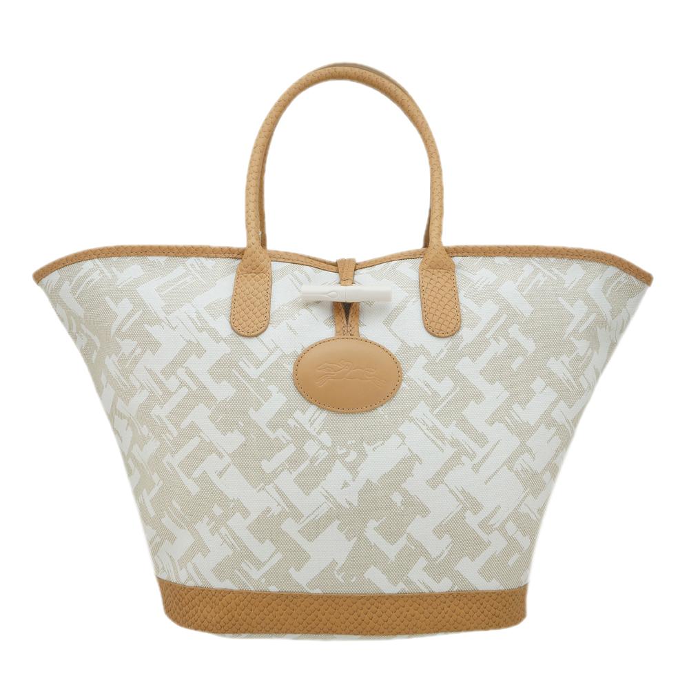 Longchamp 異國風情編織效果設計手提包(淡褐/小)