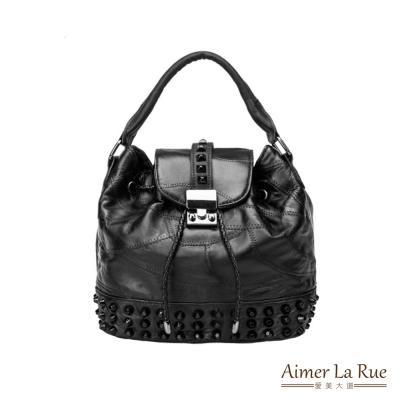 Aimer La Rue 手提側背水桶包 羊皮黑曜搖滾系列(黑色)