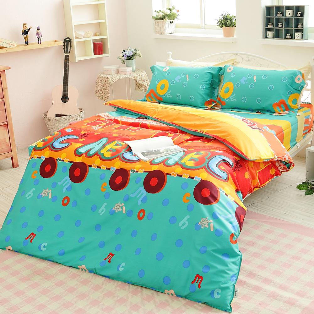 生活提案【趣時尚】單人四件式活性印染純棉兩用被床包組