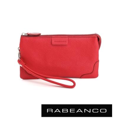 RABEANCO 迷時尚系列多分層羊皮手拎零錢包(大) 石榴紅