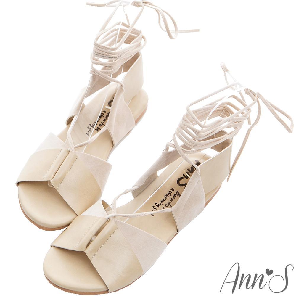 Ann'S層次穿搭-異材質寬版綁帶羅馬平底涼鞋-米