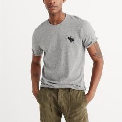 A&F 經典刺繡大麋鹿圓領素色短袖T恤-灰色 AF Abercrombie