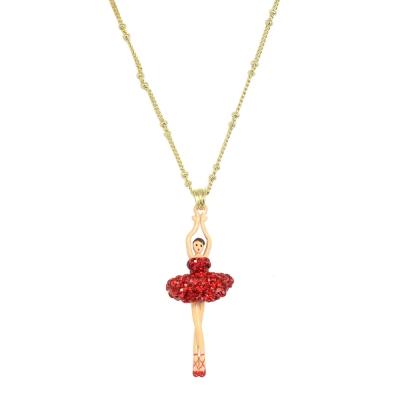 Les Nereides 優雅芭蕾舞女孩系列 閃耀紅色水鑽澎澎裙女孩金色項鍊