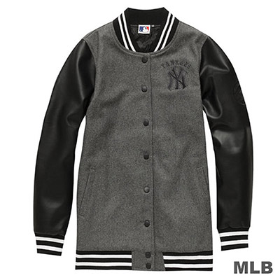 MLB-紐約洋基隊長版皮袖棒球外套-麻灰-女