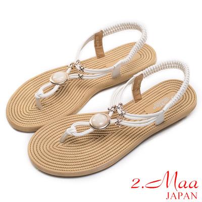 2-Maa-超輕型-迷漾時尚寶石結調整式平底涼鞋
