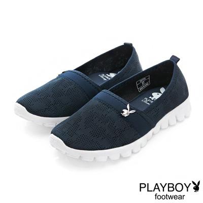 PLAYBOY 悠閒時光 針織超輕量懶人鞋-藍(女)