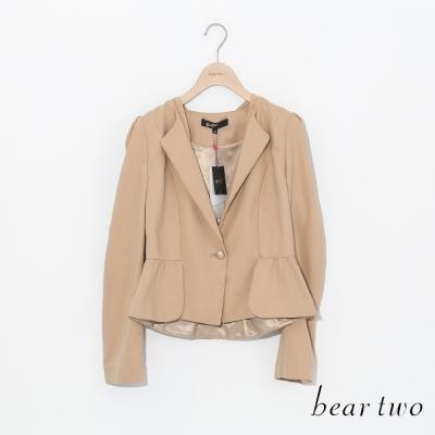 beartwo-修身款傘狀下擺西裝外套-卡其