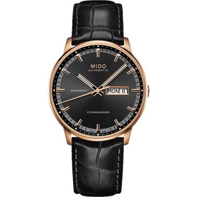 MIDO Commander 香榭系列經典機械腕錶-黑x玫塊金框/40mm