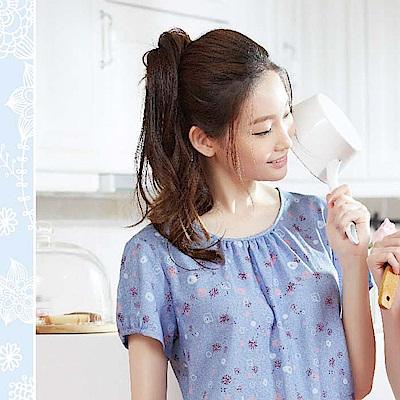 華歌爾睡衣 蒲公英印花居家服 M-L 圓領衣褲組 (藍紫)-舒適親膚
