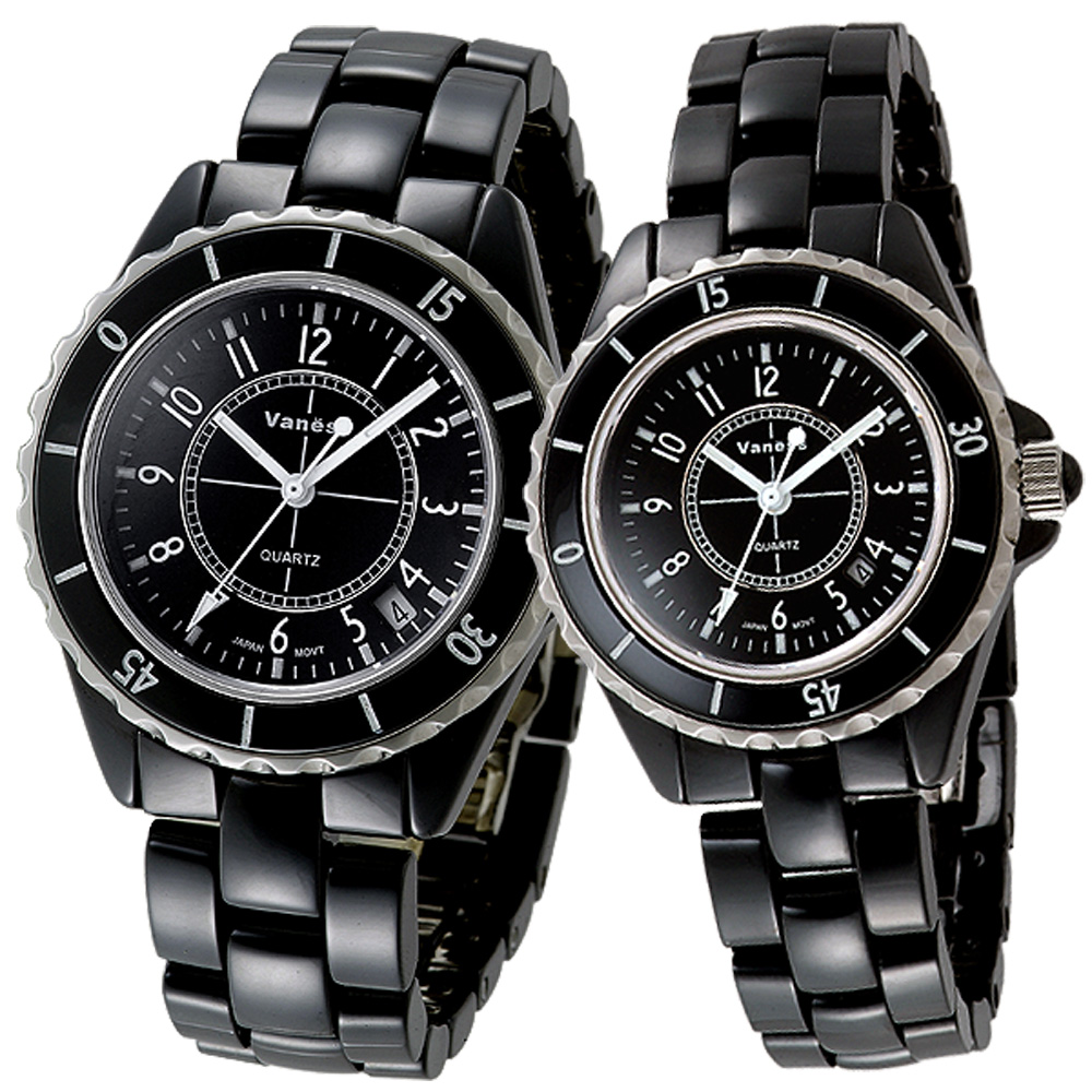 【Vaness】優雅都會時尚陶瓷對錶(黑)