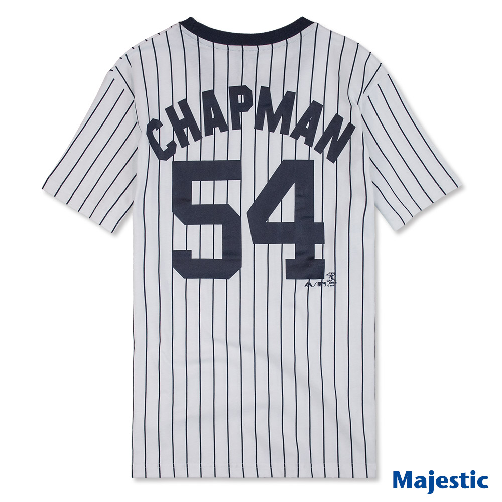 Majestic-洋基隊Aroldis Chapman背號54號短T-白 (男)