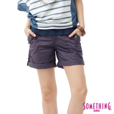 SOMETHING-短褲-袋蓋大口袋休閒短褲-女-紫色