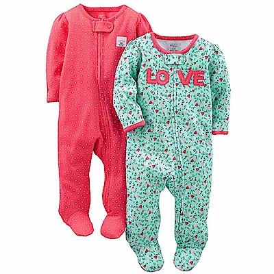 Carters 美國 桃紅綠碎花長袖連身衣2件組