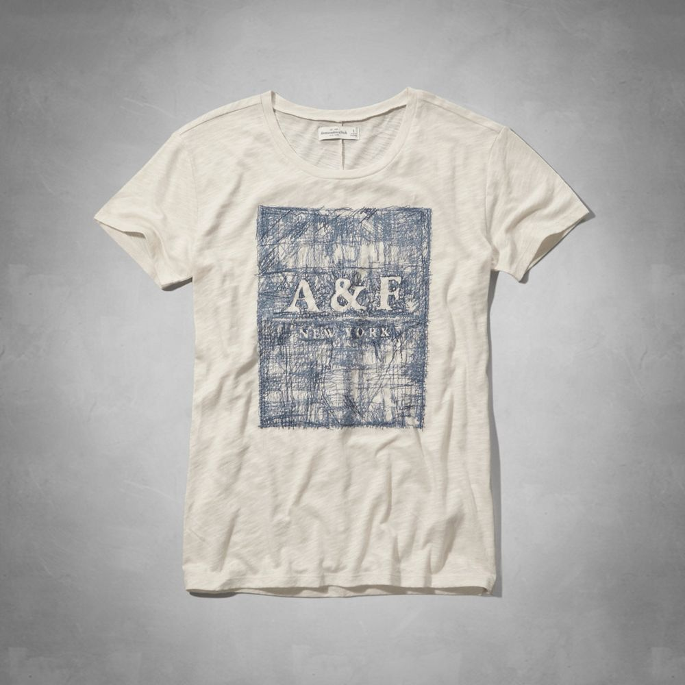 AF a&f Abercrombie & Fitch 女T恤 白色 0011