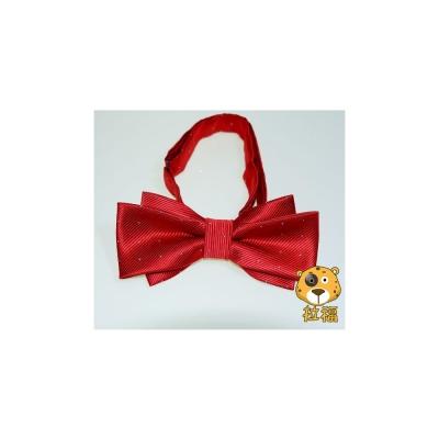 拉福-飛翼色織銀絲點領結新郎結婚領結糾糾-大紅色
