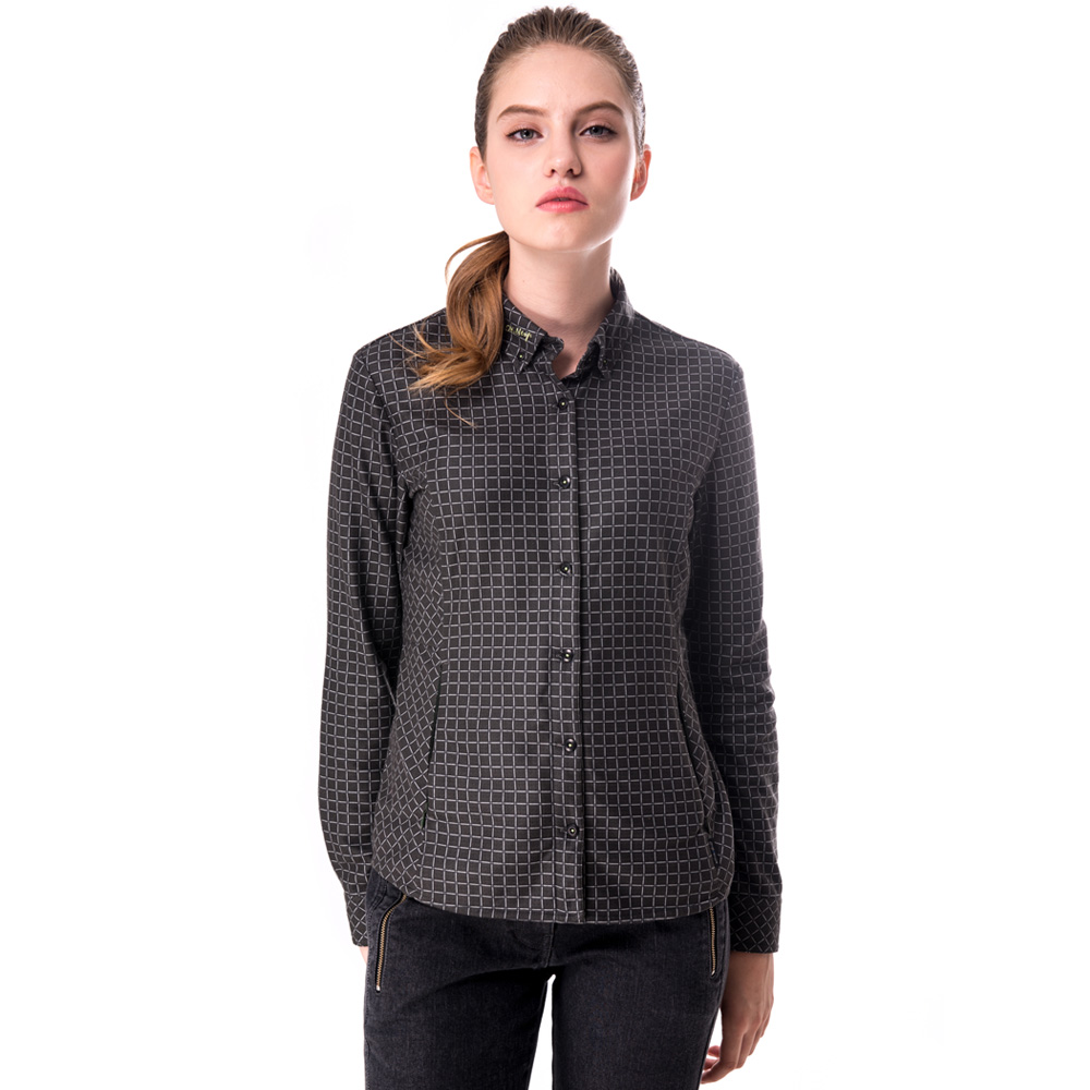 【hilltop山頂鳥】女款抗菌保暖吸濕快乾長袖格子襯衫C05F13綠/灰格紋