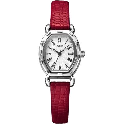 JULIUS聚利時 羅馬刻度復古酒桶形腕錶-微醺紅/20x24mm