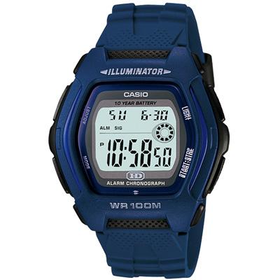 CASIO 帥氣酒桶兩地時間錶(HDD-600C-2A)-藍