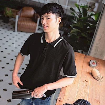 高含棉配色條紋素面短袖POLO衫-OB大尺碼