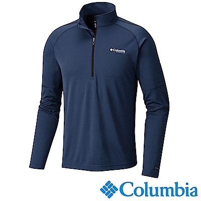 Columbia 哥倫比亞 男-鈦防曬15涼感快排半開襟上衣-深藍 AE0635