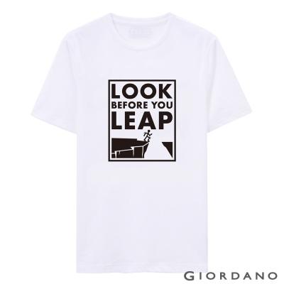 GIORDANO-男裝字母印花純棉修身短袖T恤-08-標志白色