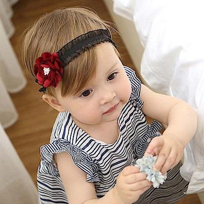 Baby unicorn 酒紅花朵黑蕾絲髮帶