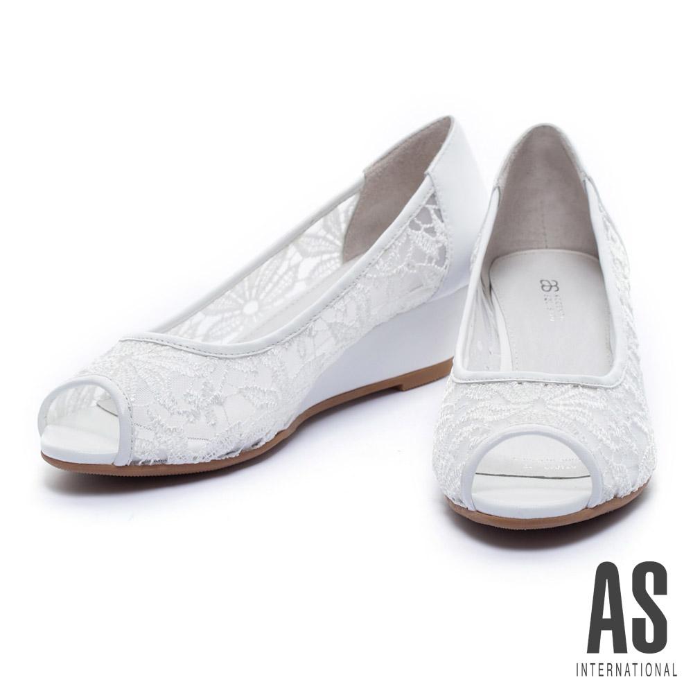 楔型鞋 AS 浪漫蕾絲網紗羊皮魚口楔型鞋-白